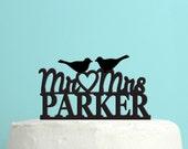 Love Birds Wedding Cake Topper - Personalized Cake Topper -  Last Name Wedding Cake Topper -  Custom Colors - Peachwik Cake Topper - PT25