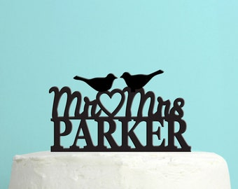 Love Birds Wedding Cake Topper - Personalized Cake Topper -  Last Name Wedding Cake Topper -  Custom Colors - Peachwik Cake Topper - PT25