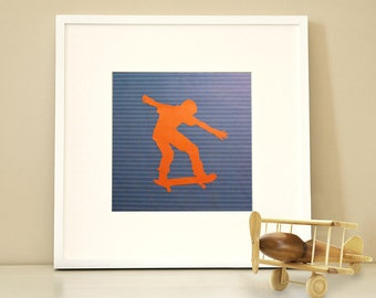 Modern Children's Paper Wall Art - Skateboarder in Action Silhouette 1 or Personalized - 12 x 12 - Orange and Blue or Custom Color