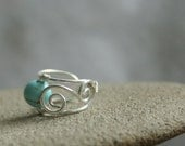 Teal - tiny silver plated wire ear cuff with turquoise howlite bead