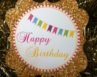 Golden Birthday Party Custom Cupcake Toppers