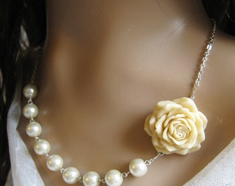 Rose pearl necklace, bridal, bridesmaids necklace, wedding jewelry - F008 (Choose your pearl colour)