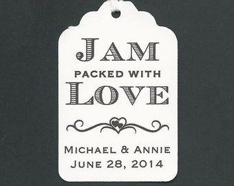 50 JAM packed with Love Personalized Handmade Tags-Wedding Wish Tags-Jam-Honey jar tags-Favor tags