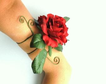 Red rose upper arm cuff arm wrap rose flower jewellery