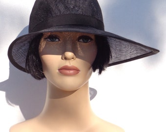 Flapper hat, black sinamay cloche, sun hat, wedding hat, retro hat, 1920s inspired hat, garden party, bridesmaid hat, great Gatsby