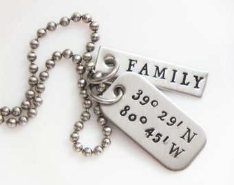 Coordinates Necklace for Men Geocache Latitude Longitude Going Away Boyfriend Family Jewelry for Him Valentines Day Gift