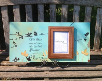 """True love does not come until the first grandson. Picture frame 24x12"""". Customize your own frame by Ladybug Design by Eu. Granparents gift."""