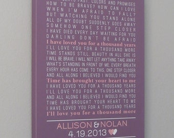 Wedding Anniversary Gift CANVAS Art 16x20 (custom wedding song, lyric art, first dance song, wedding vows) purple and pink, custom colors
