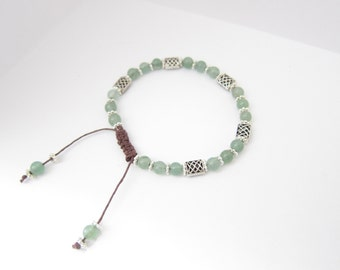 Green Aventurine Gemstone Celtic Knot Beaded Bracelet