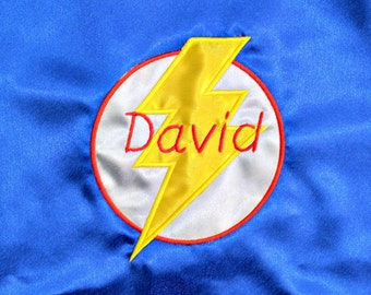 Custom Super Hero Cape with Lightning Bolt and Child's Name - Embroidered - Two colors