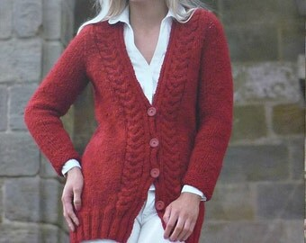 Womens Knitting Pattern K3571 Ladies Long Sleeve Long Cable Cardigan Super Chunky (Super Bulky) King Cole