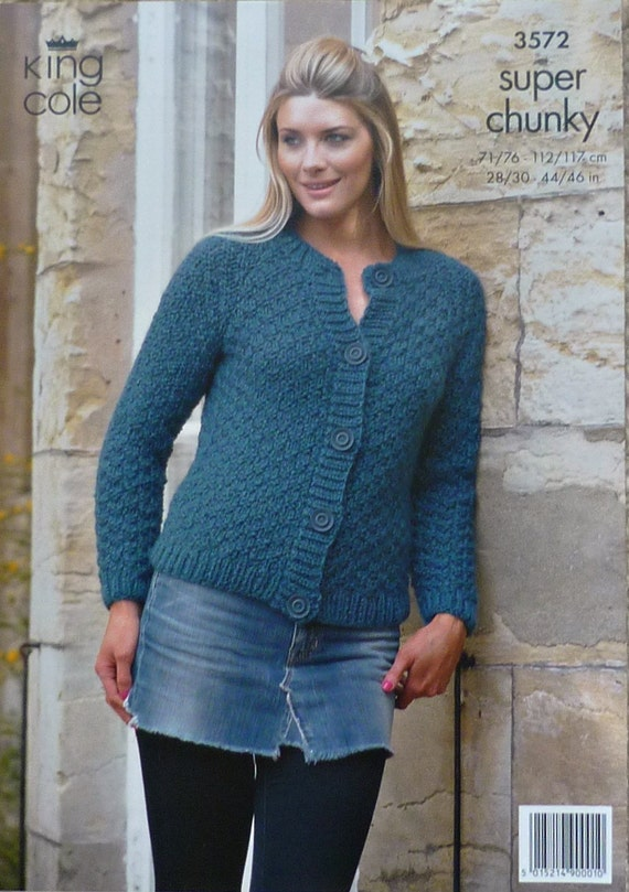 K3572 Ladies Long Sleeve Moss Stitch Cardigan Super Chunky