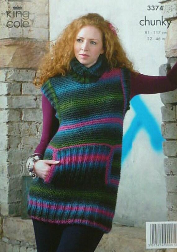 Womens Knitting Pattern K3374 Ladies Sleeveless Polo-Neck Long