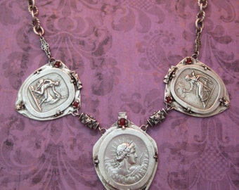 Sterling Silver Mythological Theme Necklace Artemis, Hestia, Apollo, 20 Inches