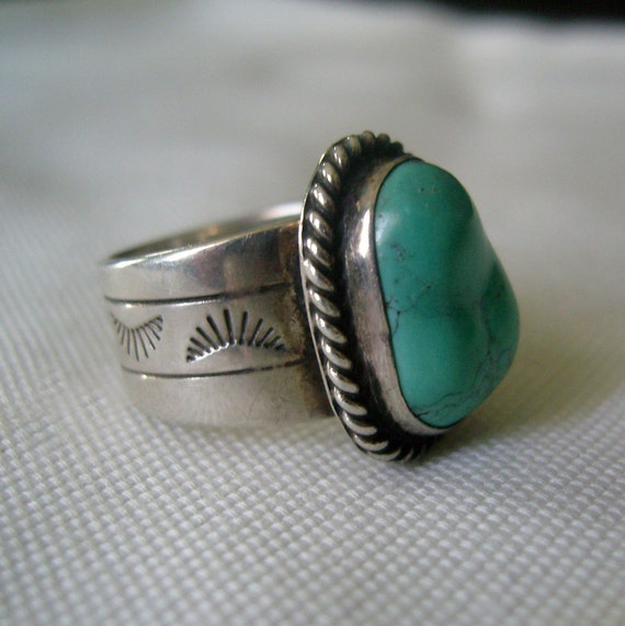 Vintage Sterling and Turquoise Ring China BJ 925 Southwestern Style