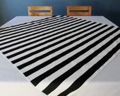 Black and White Stripe table square / overlay - SELECT A SIZE and the edge color (thread)
