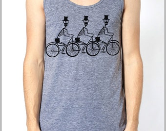 Unisex Tank 3 Skeletons on a Tri Bicycle American Apparel T Shirt by Full Spectrum Apparel tee shirt