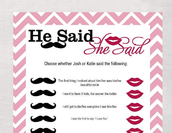 he said she said bridal shower game template - instant download he said she said game pink chevron all