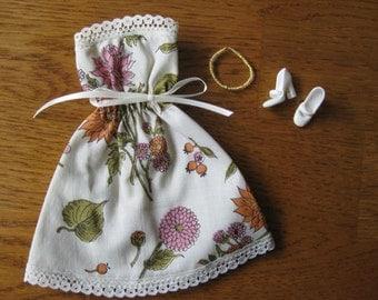 Handmade Barbie Dress, Cream with Flower Print