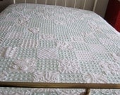 White Rosebud Chenille Queen Patchwork Quilt       RESERVED FOR JAN.