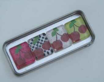 Colorful Cherries Magnets, Magnet Set of 4 with Storage Tin
