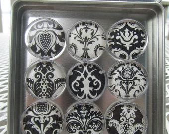 Damask Magnets, Magnet Set of Nine with Storage Tin