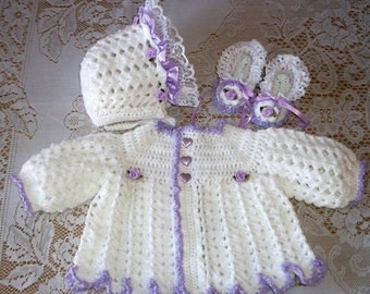 Crochet Baby Girl Sweater Set, Bonnet and Booties in White and Lavender Perfect for Baby Shower Gift or Take me Home Newborn Gift