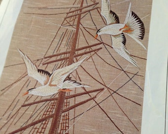 Mid Century Embroidery kit seagulls on linen made in sweden nordiskas design