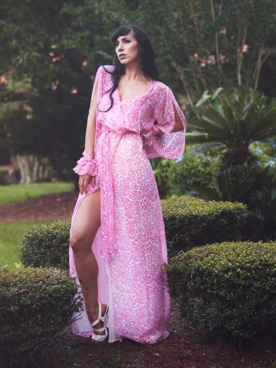 Bohemian pink maxi dress 50 off sample sale by sandrachagen
