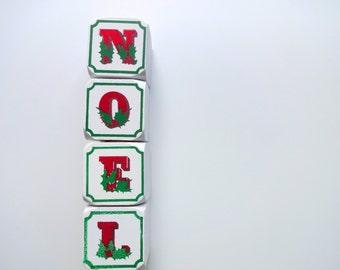 Vintage Noel Wooden Block Candle Holders 1980s