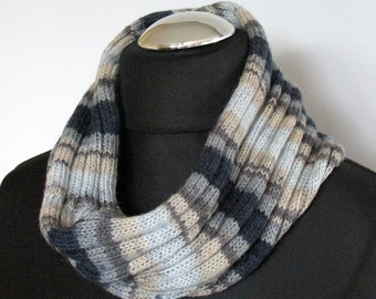 Striped Infinity Scarf Cowl Wrap Black Beige White Azure Blue Gray
