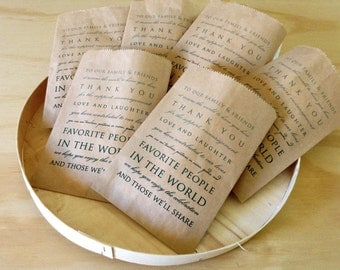 Wedding Favor Bags Set of 70, Kraft Paper Bags, Thank You,Party Favor Bags