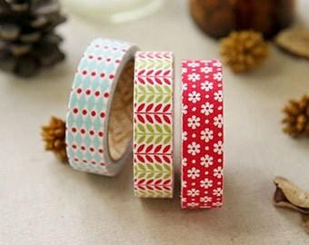 Decorative Adhesive Fabric Masking  Tape- Daily Christmas (3 Set)