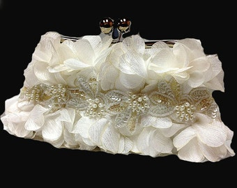 Bridal clutch, formal evening bag,  bridesmaid clutch, Ruffle clutch, bridesmaid bag, Ivory clutch, wedding accessory