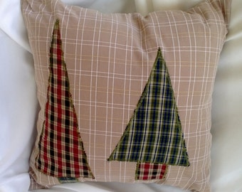 Plaid Trees Pillow Cover 14 X 14 Tan, Red and Green Applique Upcycled Men's Shirts
