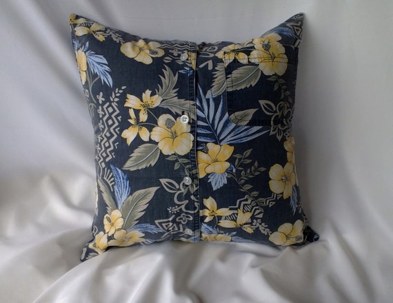 Yellow Flowers on Grey Pillow Cover Hawaiian Shirt 16 Inch Square Upcycled 16 X 16