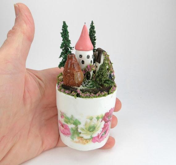 Miniature English Fairy Village Scene In A Child's Cup OOAK O'Dare