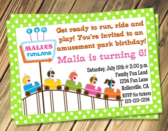 Amusement Park Birthday Party Invitation Choose Your Own Color Print Your Own 5x7 or 4x6