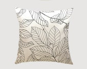 "Decorative Pillow case, Off White cotton Throw pillow case with differnt Black graphic Leaf patterns, Designer fabric, fits 18""x18"" insert"