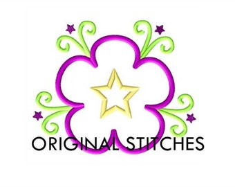 Fancy Star Flower Applique and Machine Embroidery Design File 4x4 5x7 6x10 7x11