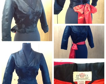 Dynasty Silk Jacket Black with Two Toned Attached Sash in Red