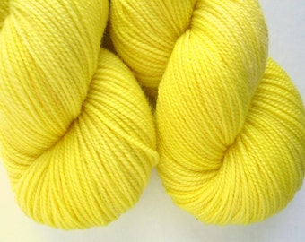 Hand Dyed Yarn - Superwash Merino Sock Weight in Glow Worm Colorway
