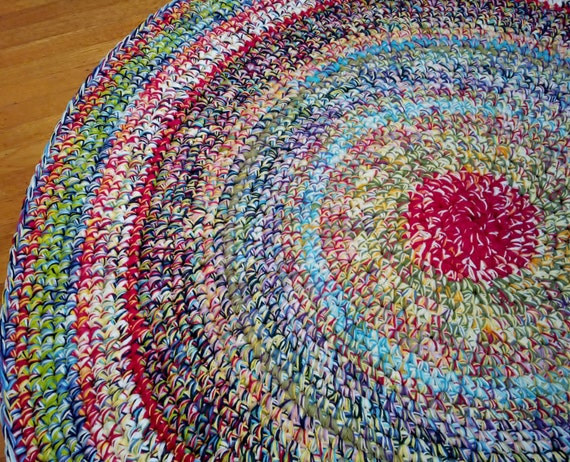 Wildly Colorful Area Rug Crochet Round By Parkerwittysoftgoods