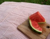Red Ticking 100% Cotton Picnic Blanket, Beach Blanket - Ecofriendly - Made to Order