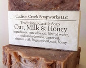 Oat Milk and Honey Soap, Traditional Castile Soap, Old Fashioned Oat Soap, Soft Scent, Wild Honey