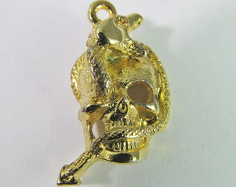 4 Vintage 23mm Gold-Plated Skull and Snake Charms Pendants Drops Pd514