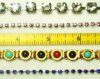 4 Amazing wearable Vintage Rhinestone Bracelets