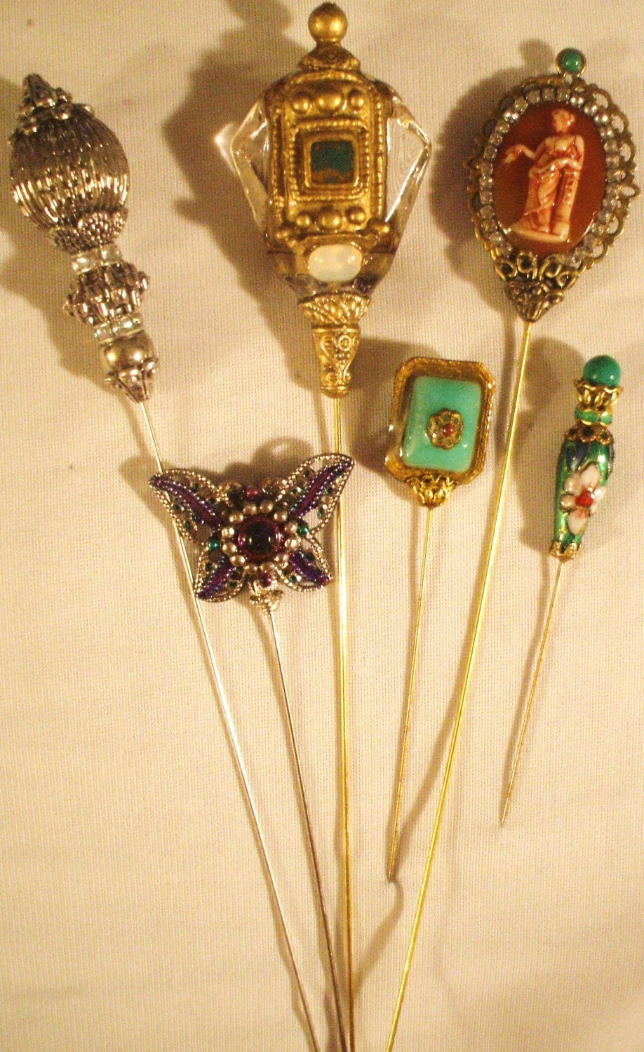 6 Antique style hat pins with vintage and antique pieces