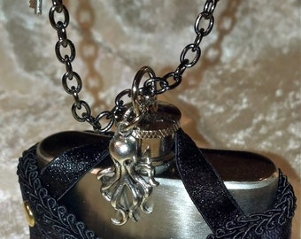Steampunk Necklace with Flask Corset Holster.  For Costume, Wedding, Bachelorette flask, Bride, Garter, Bridesmaid Gifts