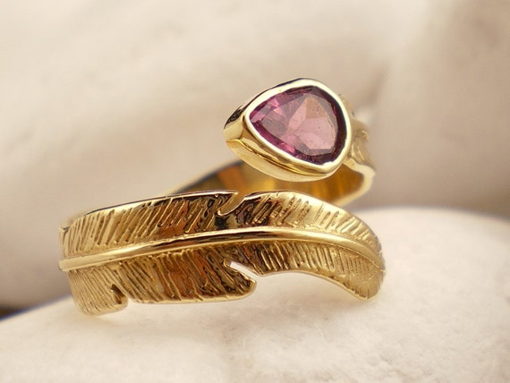"Natural Pink Tourmaline 18K Gold Ring ""Feather"""